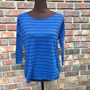 [Forever 21] Blue Striped 3/4 Sleeve Top